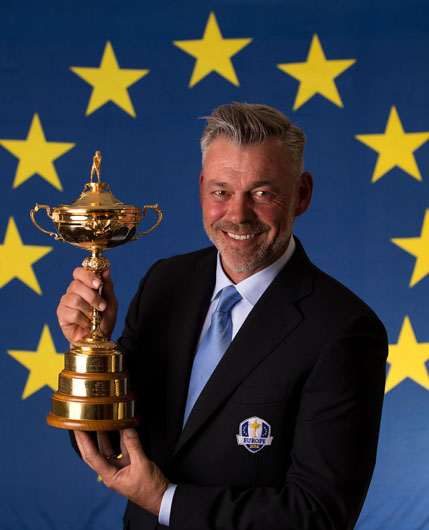 LONDON, ENGLAND - MARCH 23:  2016 European Ryder Cup Captain Darren Clarke of Northern Ireland poses with the Ryder Cup trophy during a Ryder Cup Photocall at the Sofitel hotel on March 23, 2015 in London, England.  (Photo by Richard Heathcote/Getty Images)