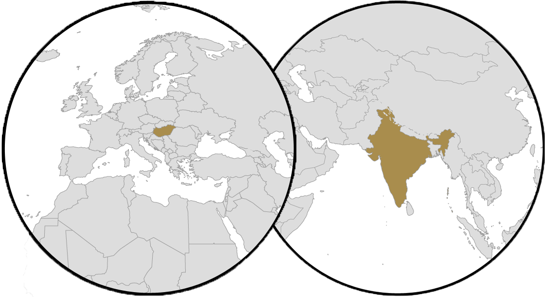 World Map - Hungary - India