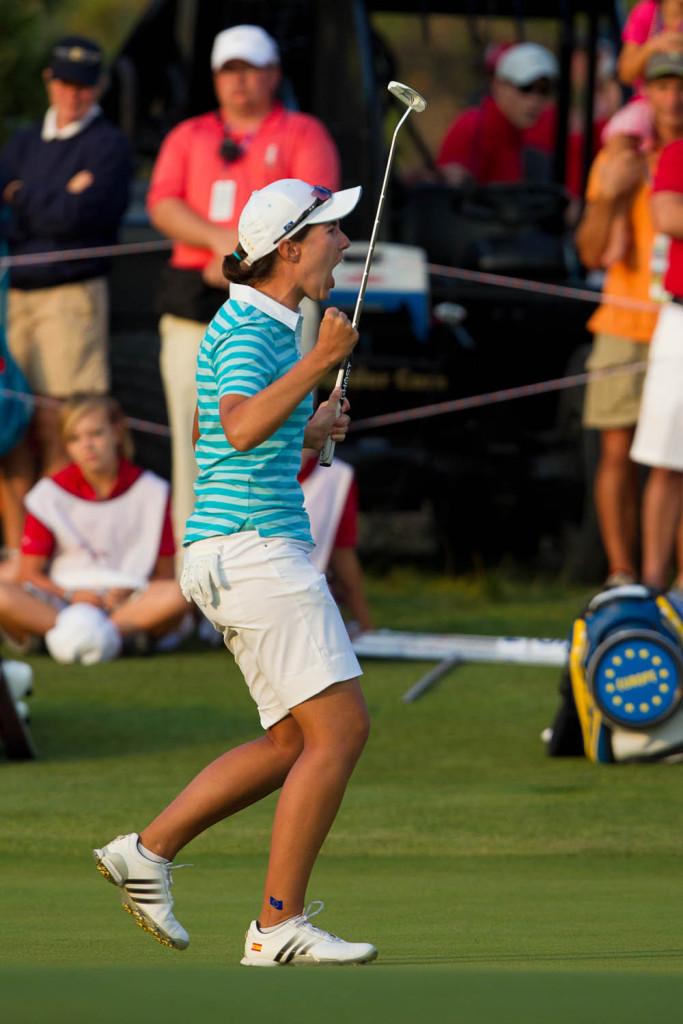 Europe's Carlota Ciganda celebrates holing the winning putt in her match