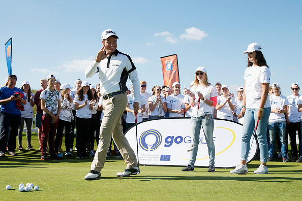 ZANDVOORT, NETHERLANDS - SEPTEMBER 09: Alvaro Velasco of Spain gives golf tips to local children as part of the GoGolf Europe project during the KLM Open ProAm held at Kennemer G & CC on September 9, 2015 in Zandvoort, Netherlands. (Photo by Dean Mouhtaropoulos/Getty Images)